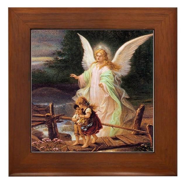 Guardian Angel With Children On Bridge Framed Tile By