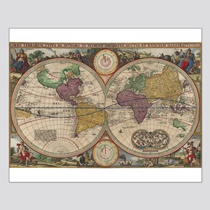 Antique world map posters cafepress world map 1657 small poster gumiabroncs