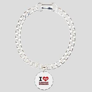 I love my Latvian Husband Charm Bracelet, One Char