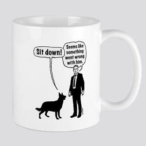 Cartoon, dog & lordling: Sit down! Seems wrong! Mu