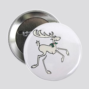 """Deer With Holly 2.25"""" Button"""