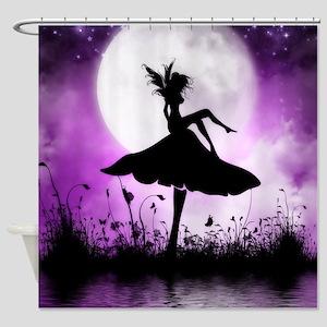 Enchanted Silhouette Fairy Purple Shower Curtain