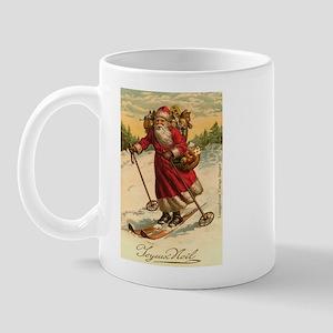 Santa on Skis Vintage Christm Mug