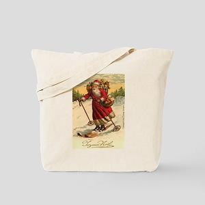 Santa on Skis Vintage Christm Tote Bag