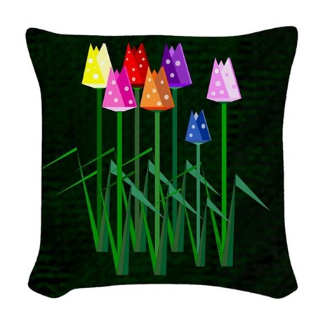 Lots O Tulips Woven Throw Pillow