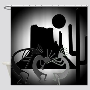 Kokopellis in the Southwest Black Shower Curtain