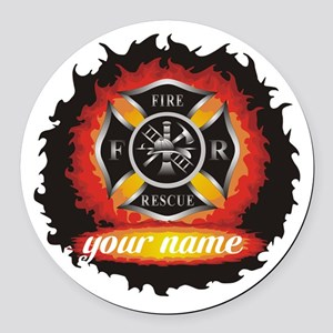 Personalized Fire and Rescue Round Car Magnet