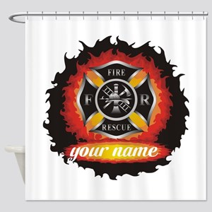Personalized Fire and Rescue Shower Curtain