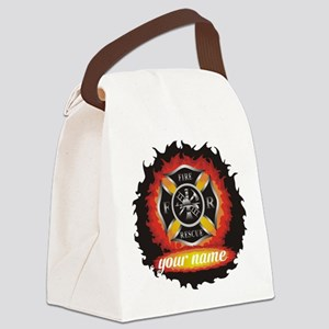 Personalized Fire and Rescue Canvas Lunch Bag
