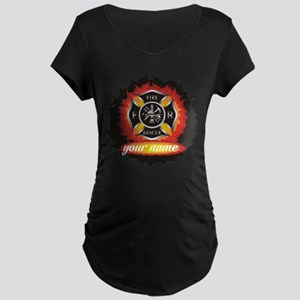Personalized Fire and Rescue Maternity T-Shirt