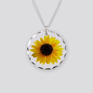 Golden sunflower Necklace Circle Charm