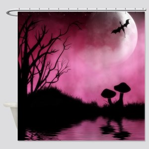 Enchanted-Silhouette-dragon-Red Shower Curtain