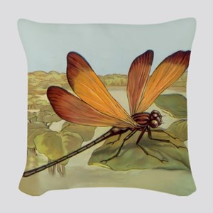 Golden Dragonfly Woven Throw Pillow
