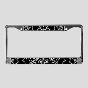 Black Flower Motif License Plate Frame