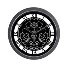 Black Flower Motif Wall Clock