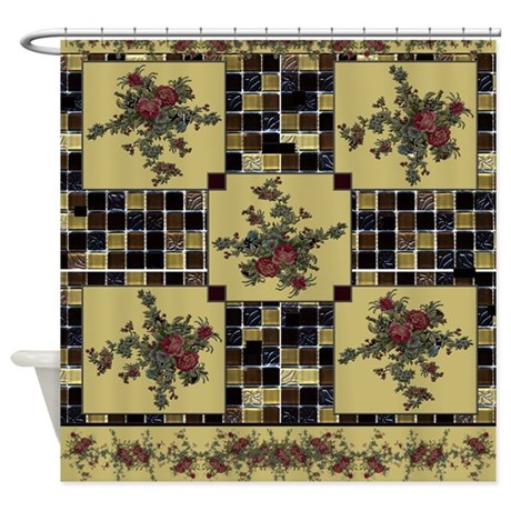 Tiles and Roses - Dark Beige Shower Curtain