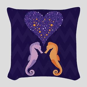 Seahorse Love Woven Throw Pillow
