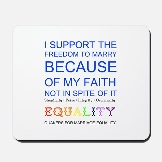 Quaker Marriage Equality Cross Stitch Mousepad