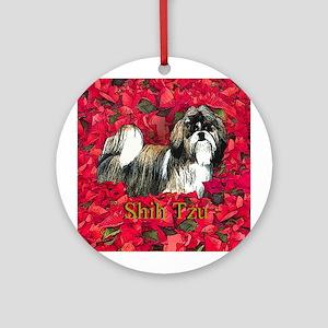 Shih Tzu Christmas Poinsettia Ornament (Round)