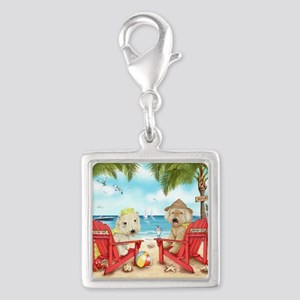 Loving Key West Silver Square Charm