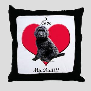 Black Golden Doodle Love Dad Throw Pillow