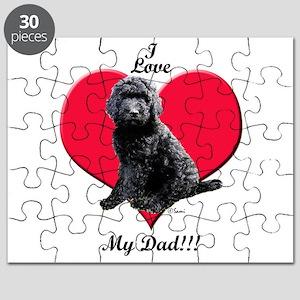 Black Golden Doodle Love Dad Puzzle