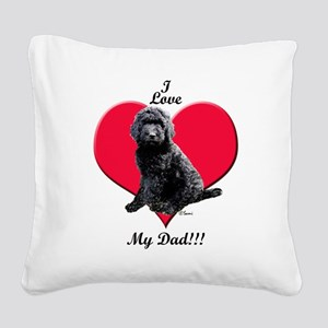Black Golden Doodle Love Dad Square Canvas Pillow