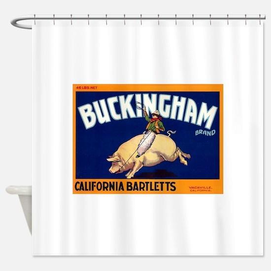 Antique 1920 Buckingham Pig Fruit Label Shower Cur