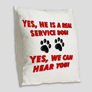 SERVICE DOG WORK Burlap Throw Pillow