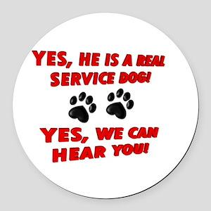 SERVICE DOG WORK Round Car Magnet