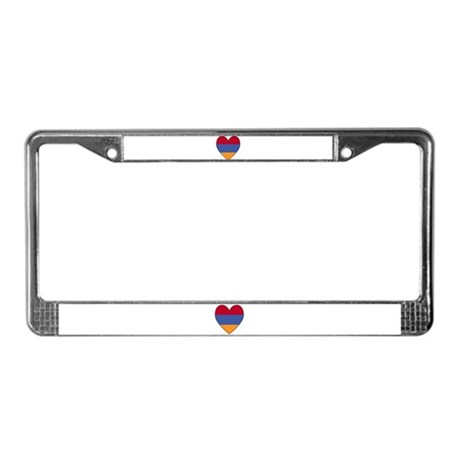 Armenian Flag Heart License Plate Frame