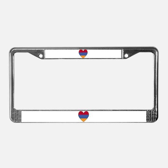 Armenian Flag Heart License Plate Frame