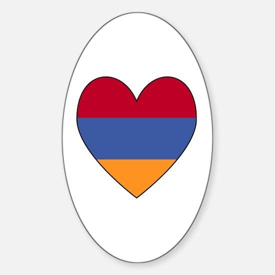 Armenian Flag Heart Oval Decal