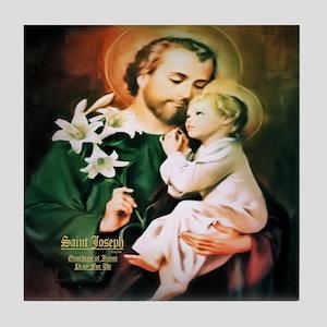 St Joseph Guardian of Jesus Tile Coaster