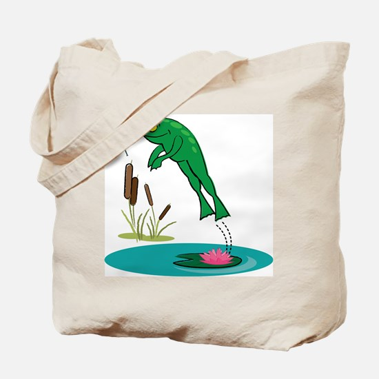 Whimsical Leaping Frog Tote Bag