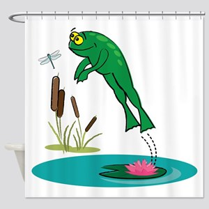 Whimsical Leaping Frog Shower Curtain