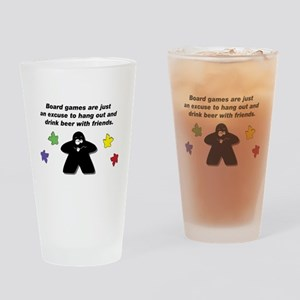 Meeple Text Drinking Glass
