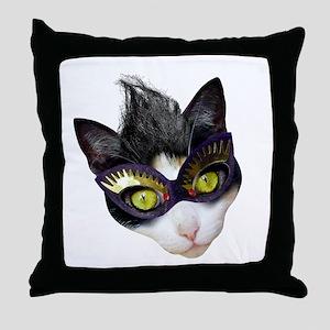 Masked Cat Throw Pillow