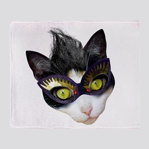 Masked Cat Throw Blanket