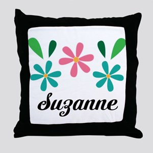 Personalized Daisy Flower Floral Gift Throw Pillow