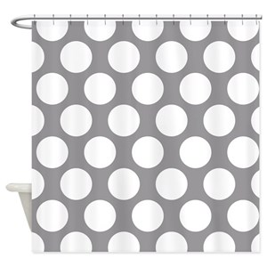 Grey Polka Dot Shower Curtains