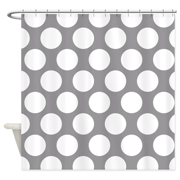 Pebble Grey Polkadot Shower Curtain by ZandiepantsHomeDecor