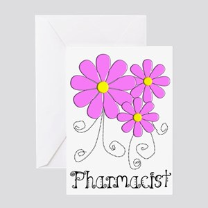 Pharmacist Blue Pink Flower Greeting Card