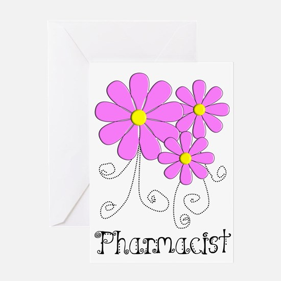 Pharmacist Blue Pink Flower Greeting Card