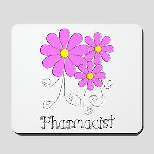 Pharmacist Blue Pink Flower Mousepad