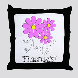 Pharmacist Blue Pink Flower Throw Pillow