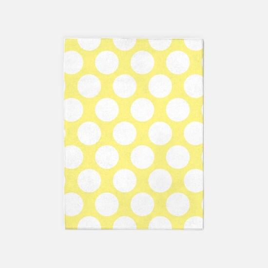 Bright Yellow Polkadot 5'x7'Area Rug