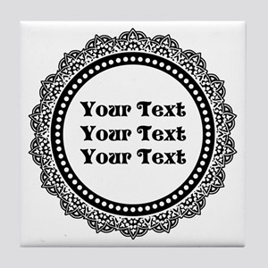 CUSTOM TEXT Elegant Round Tile Coaster