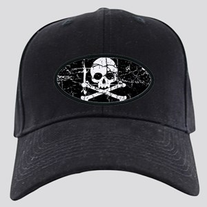 Crackled Skull And Crossbones Black Cap