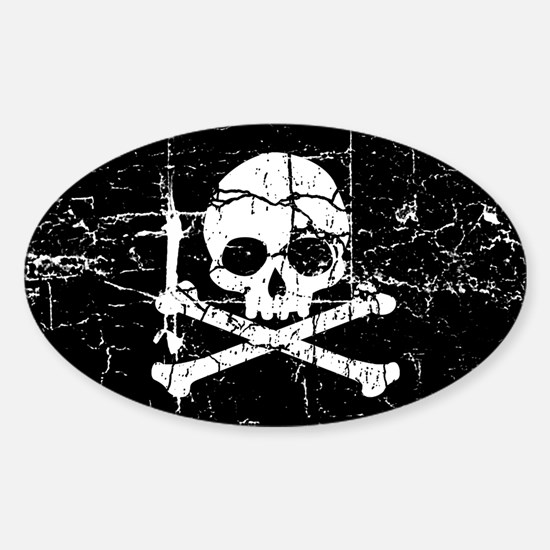 Crackled Skull And Crossbones Sticker (Oval)
